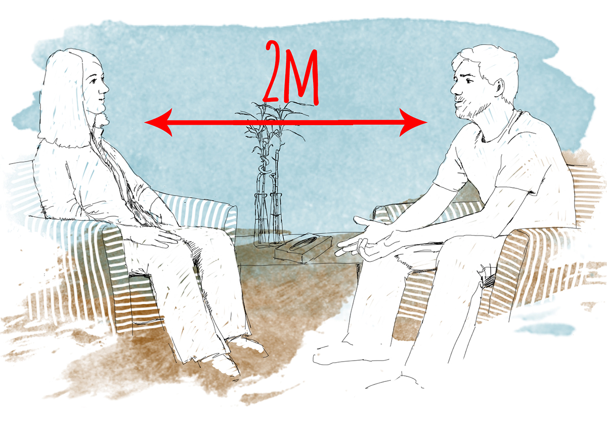 Individual counselling at 2m distance